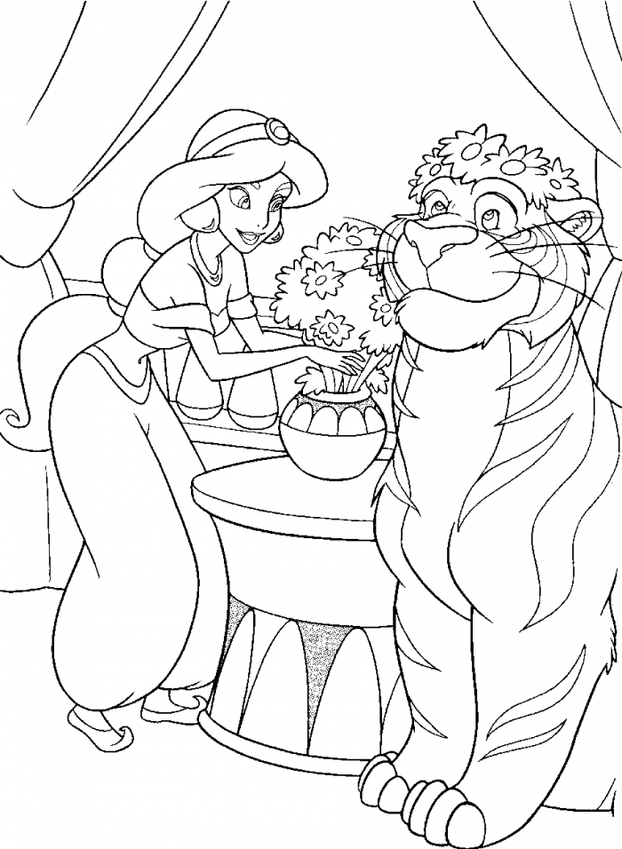 Jasmine Coloring Pages Pdf : Jasmine put flowers in a pot coloring page kids