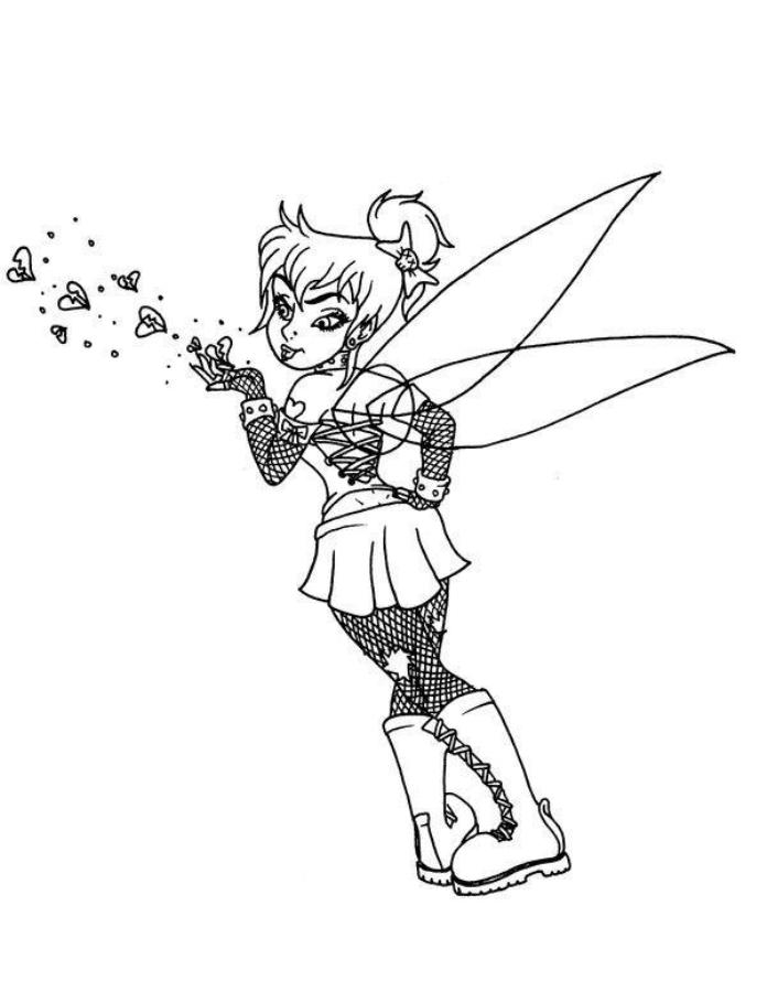 Print Gothic Style Tinkerbell Coloring Pages or Download Gothic