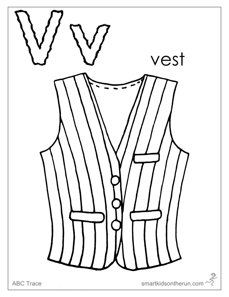 Letter v coloring pages az coloring pages for Vest top template