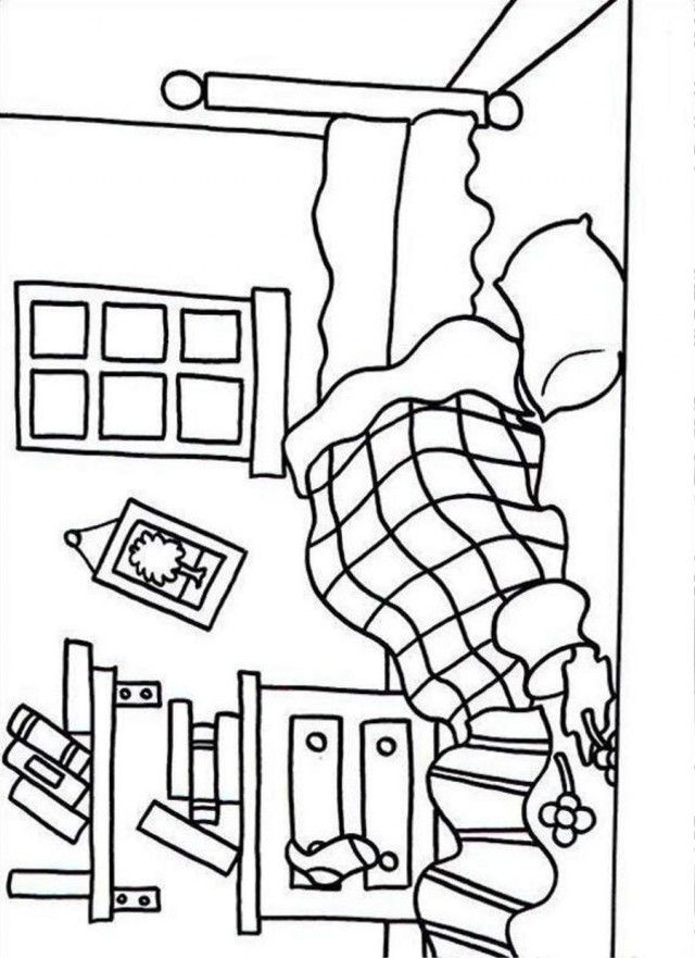 Bedroom coloring pages coloring home - Dessin chambre d enfant ...