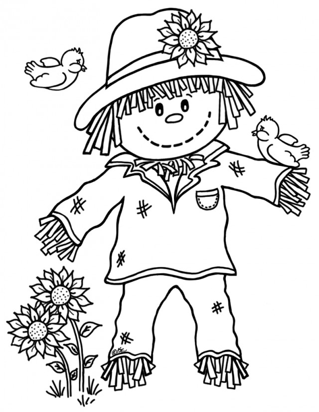 Free scarecrow coloring pages az coloring pages for Coloring pages scarecrow