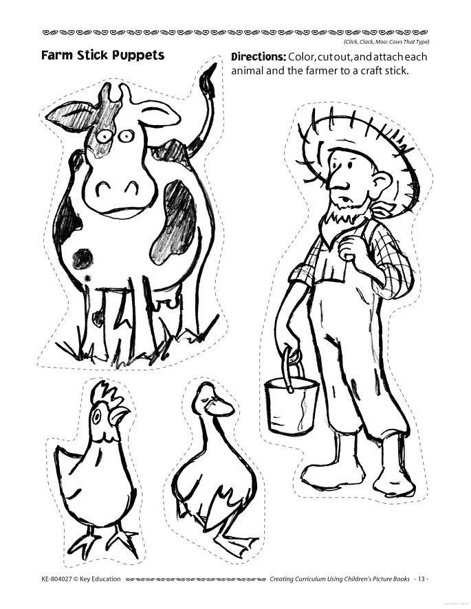 Click clack moo - doreen cronin Farm Stick Puppets coloring page