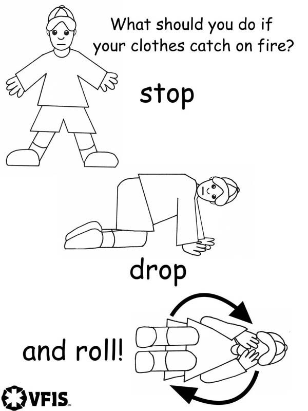 What should you do in case your clothes catch a fire? Stop drop and roll. Coloring page