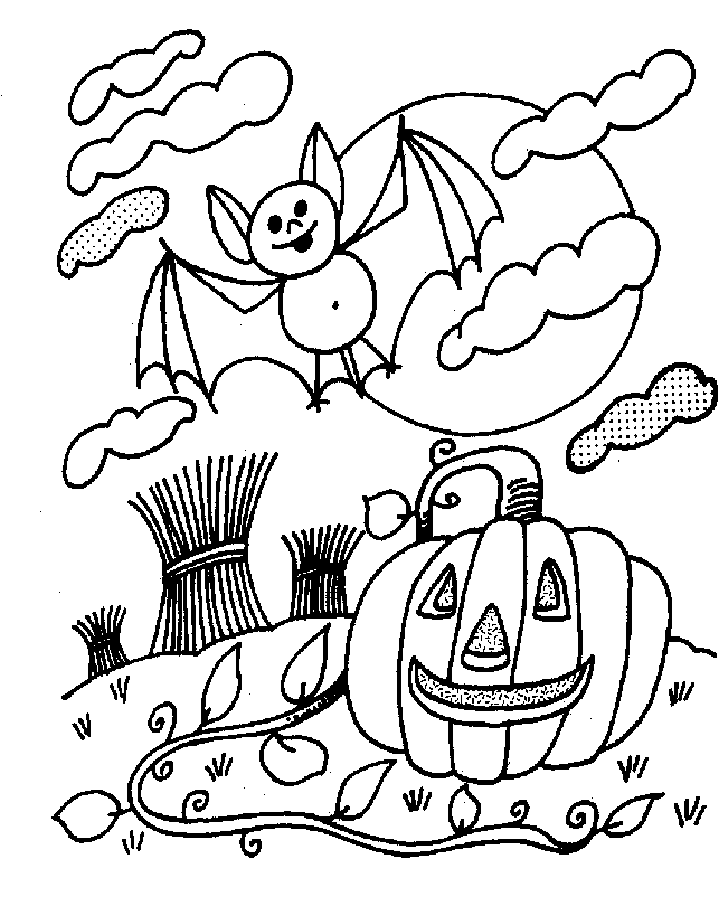 Bat And Jack O Lantern Of Halloween Coloring Pages Free