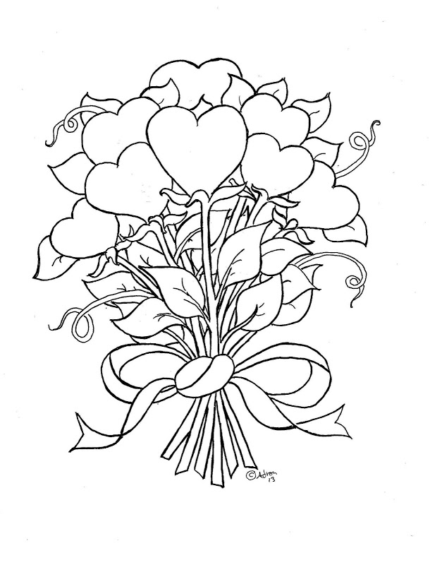 heart flower coloring pages az coloring pages