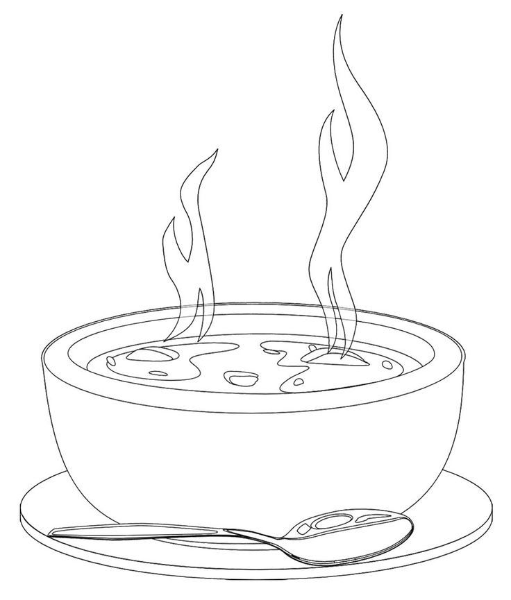 A Bowl Of Hot Soup Coloring Page | Fun Printable's