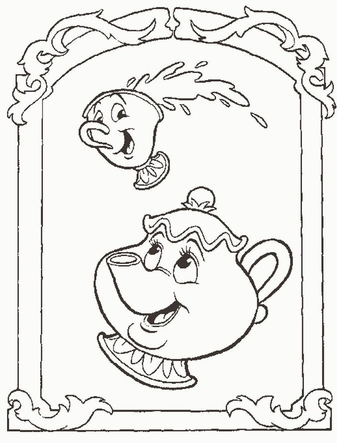 Beauty And Beast Coloring Pictures Disney Characters Coloring