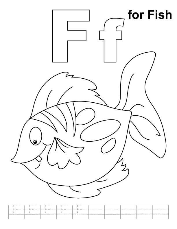 F Is For Fish Worksheet F for fish coloring page with