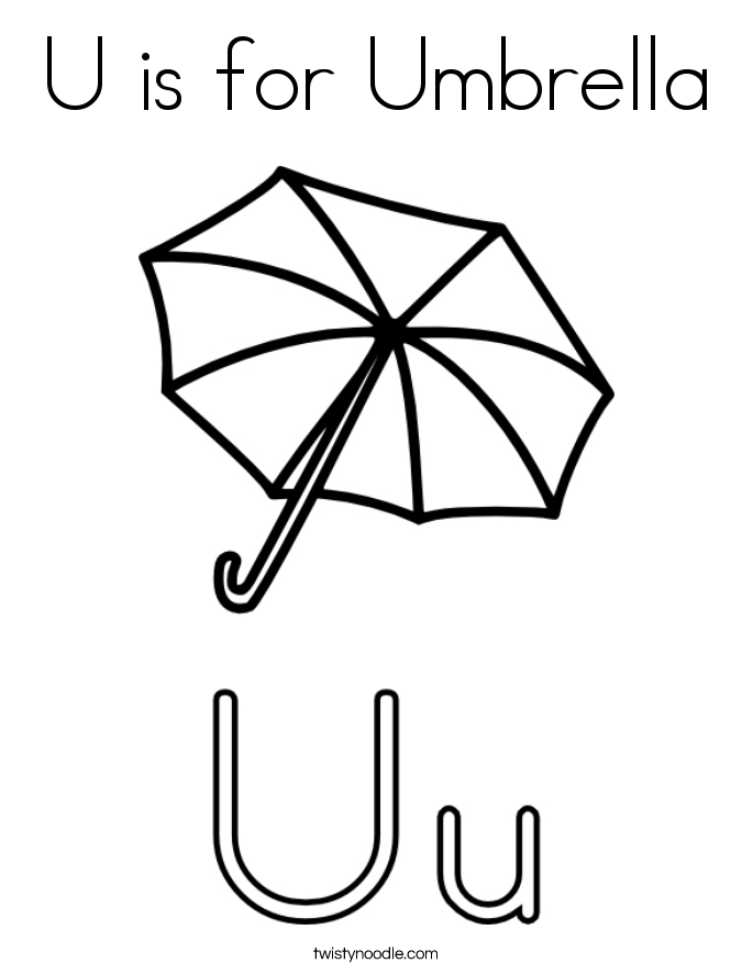 u is for umbrella Colouring Pages