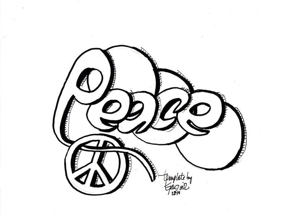Graffiti Peace Colouring Pages
