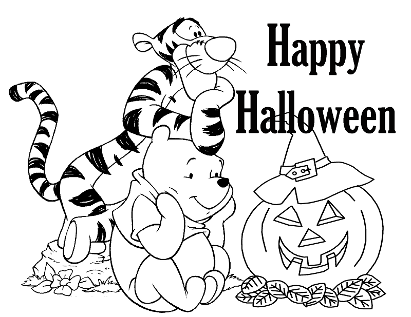 Winnie The Pooh Halloween Coloring Pages Printable