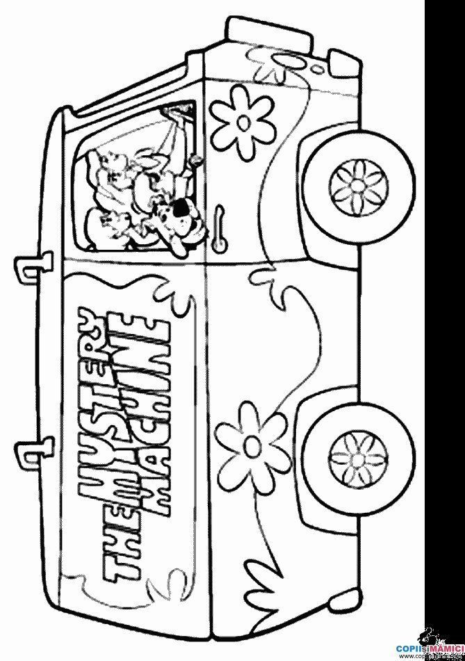 Scooby doo mystery machine coloring pages car interior for Mystery picture coloring pages