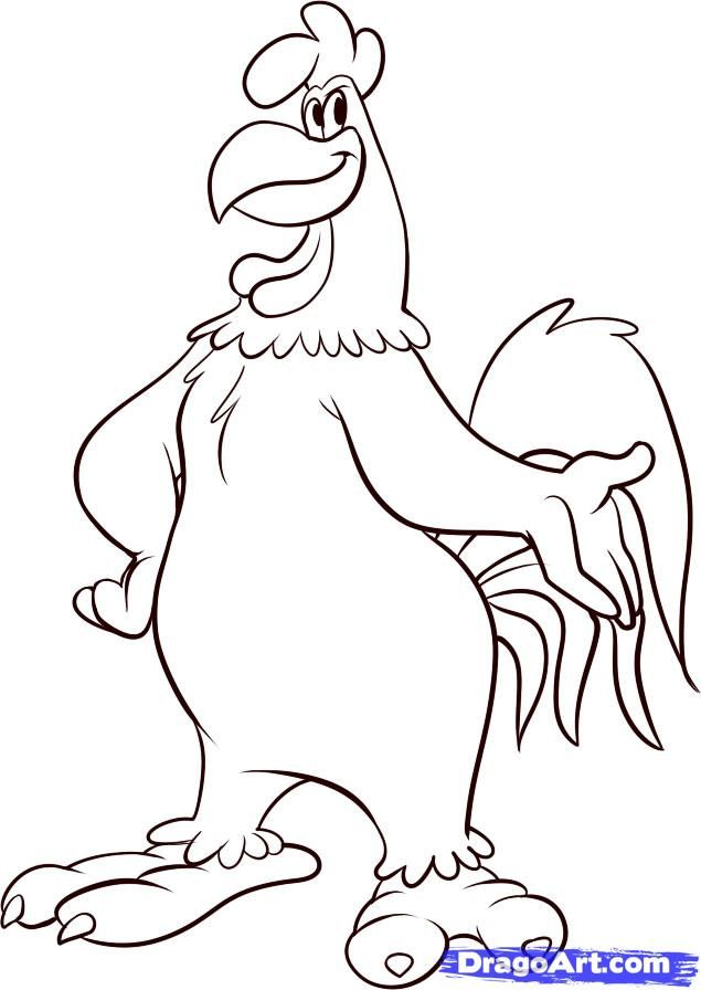 How to Draw Foghorn Leghorn, Step by Step, Cartoons, Cartoons