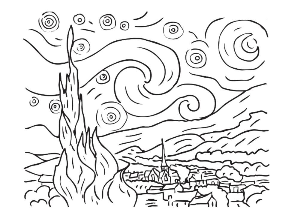 Starry Night Coloring Page | Coloring Pages