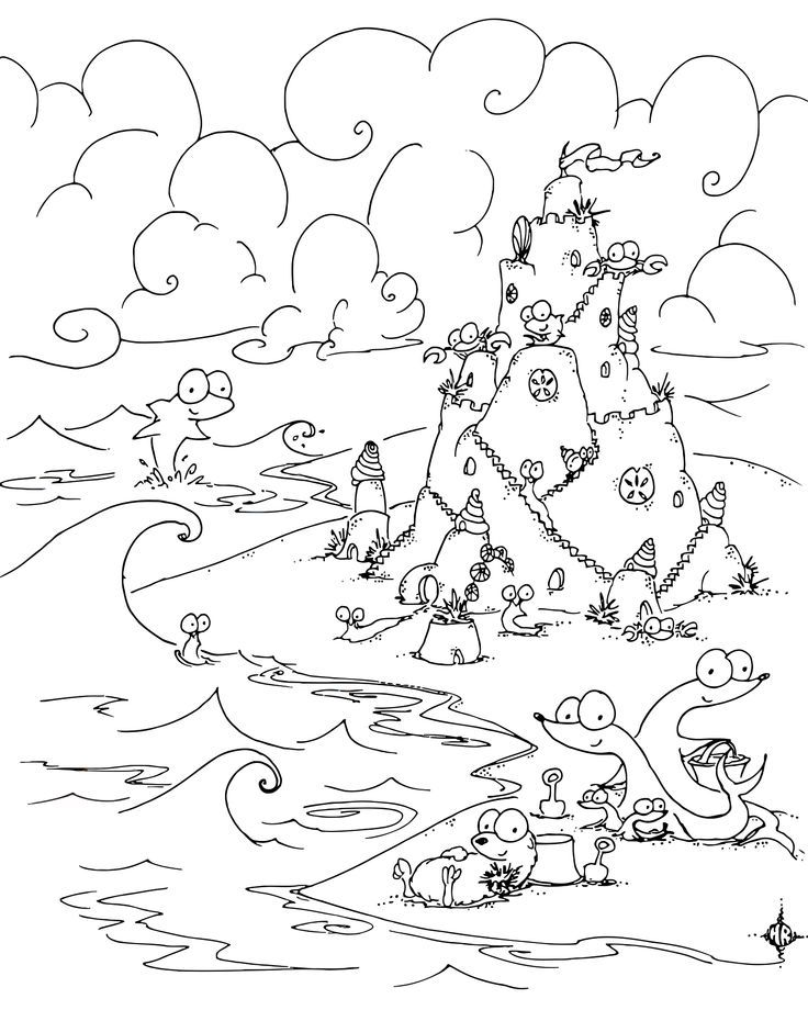 Beach Sandcastle coloring page It's a Beach Sandcastle coloring ... | 920x736