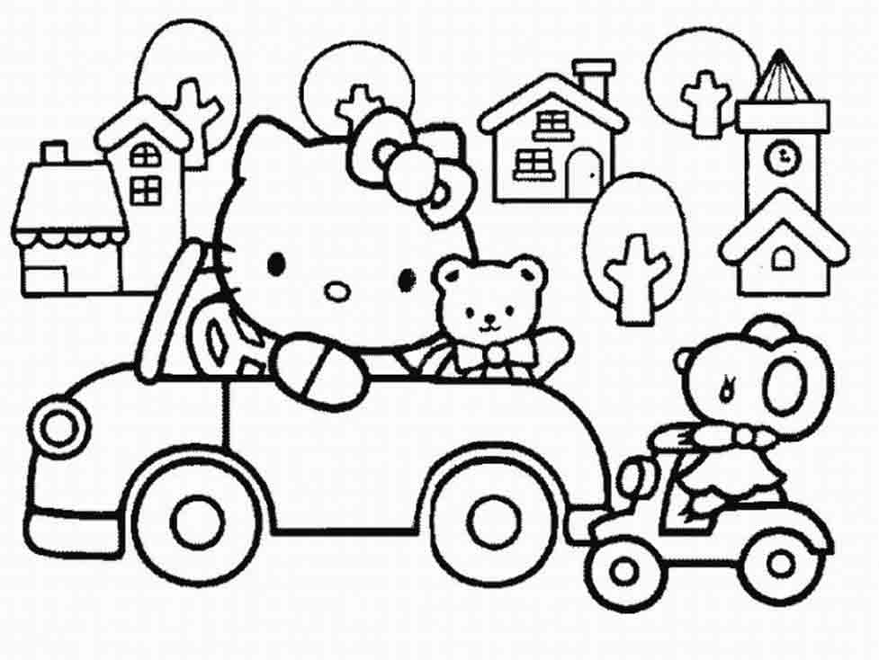 hello kitty sleeping Colouring Pages