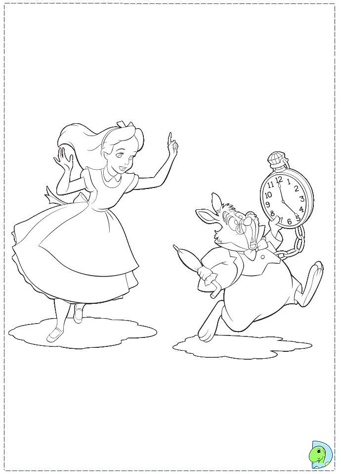 Alice And Wonderland Coloring Pages