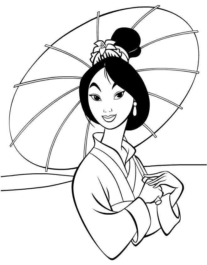 Disney Sweet Princess Mulan Coloring Pictures