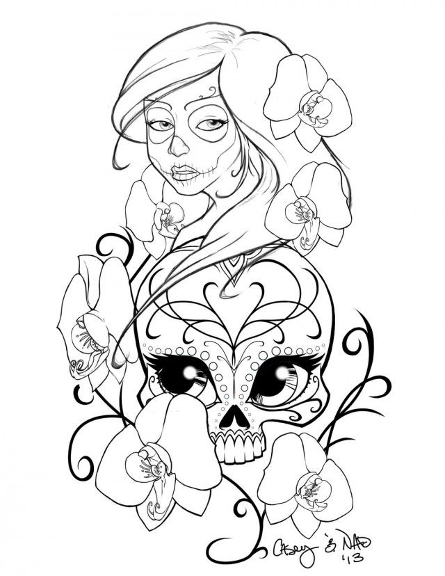 sugar skull designs coloring pages - photo#1