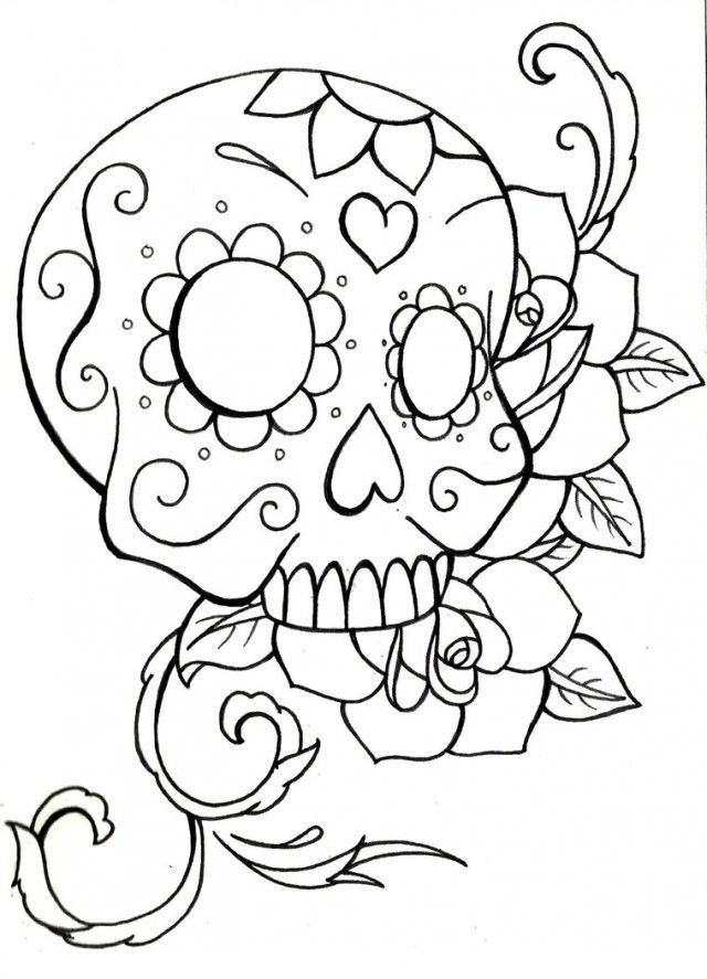 Sugar skull coloring page coloring home for Simple sugar skull coloring pages
