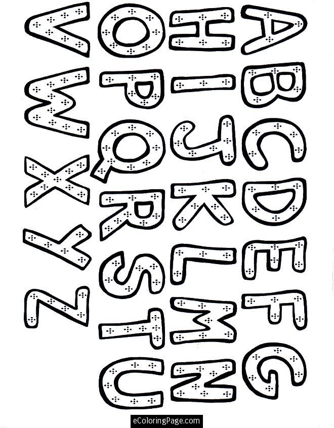 Learning Alphabet Coloring Page for Kids Printable | eColoringPage