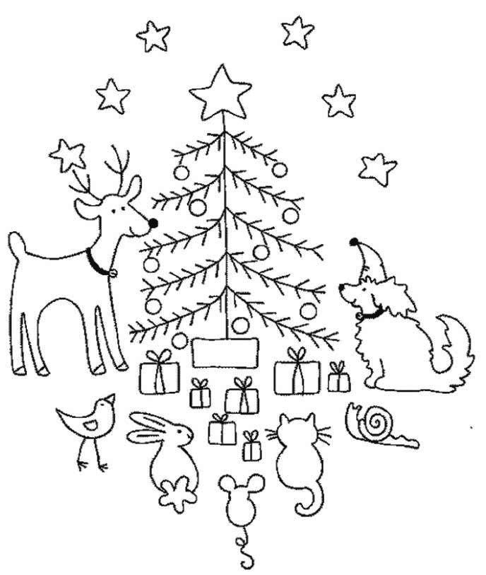 Christmas Coloring Pages With Animals : Christmas animal coloring pages