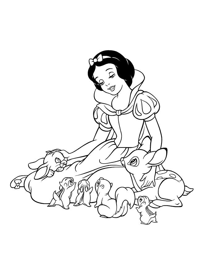 Princess Snow White With Bambi And Squirrel Friends Coloring