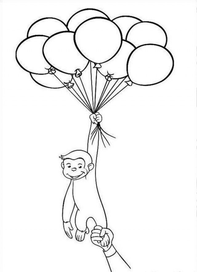 Curious George Holds Balloons Coloring Page Coloringplus 52446