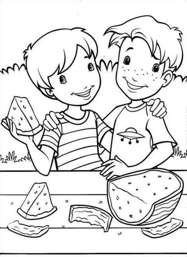 Holly Hobbie Likes Watermelon Coloring Page Coloringplus 192159