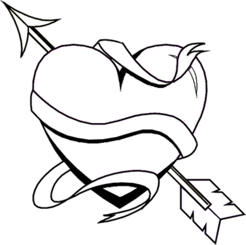 Heart With Arrow Coloring Pages - d'