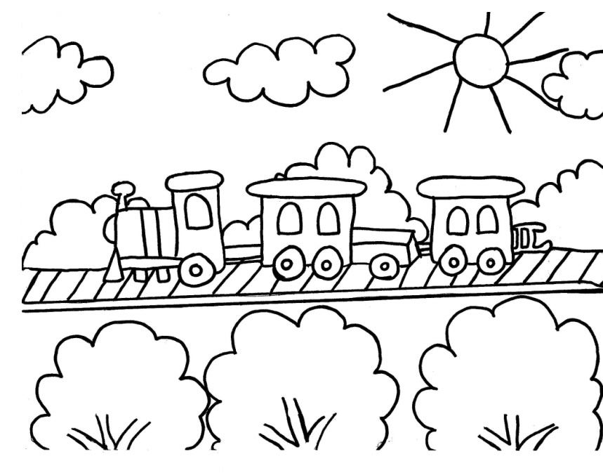 Simple Free Train Coloring Page | Image Coloring Pages