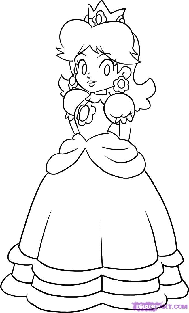 mario princess peach coloring pages - photo#24