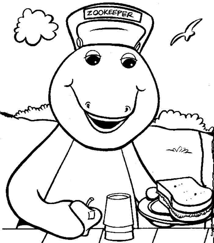 barney dinasouer colouring pages page 2