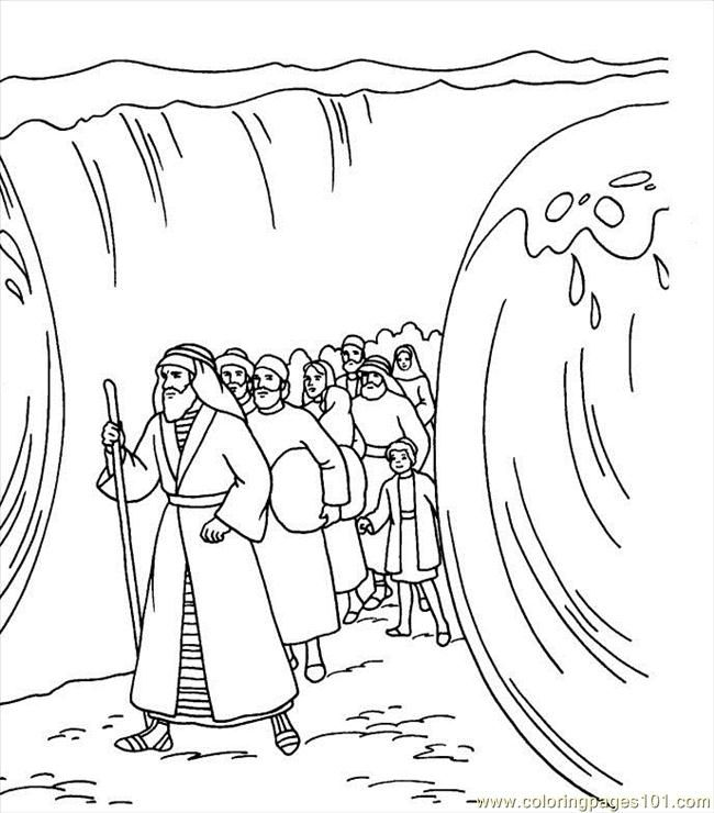 Free Coloring Page Moses Parting Red Sea