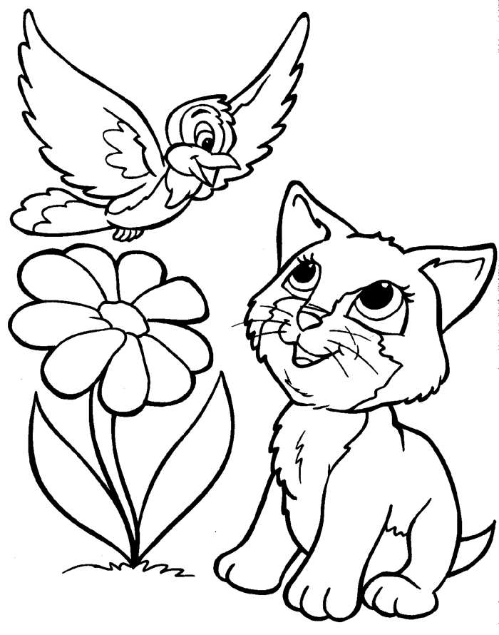Coloring Pages Of Puppies And Kittens Home