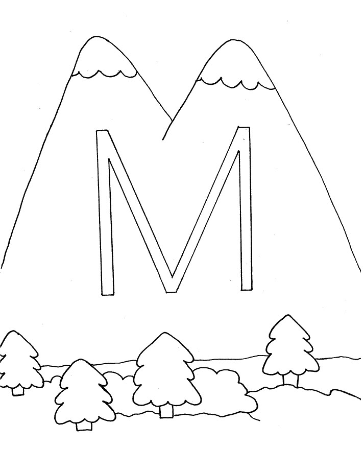Activity coloring pages m is for mountain coloring pages for Mountain coloring pages for kids