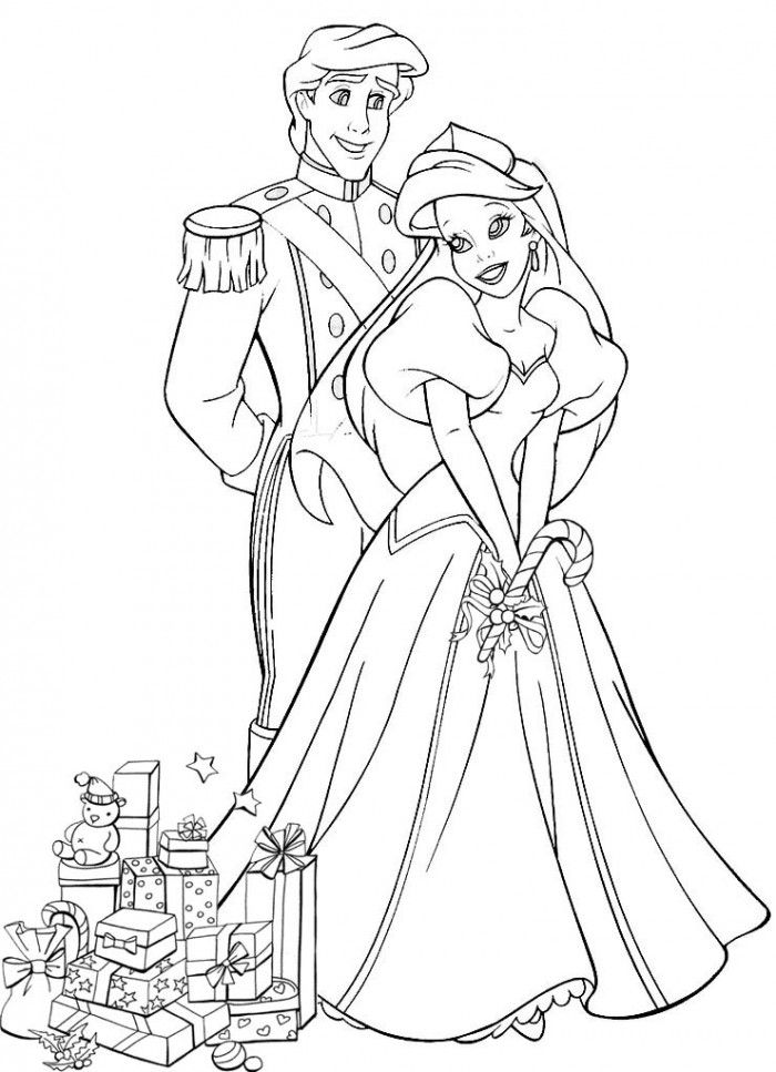 Ariel and Eric Looking at The Stars Coloring Page | Kids Coloring Page