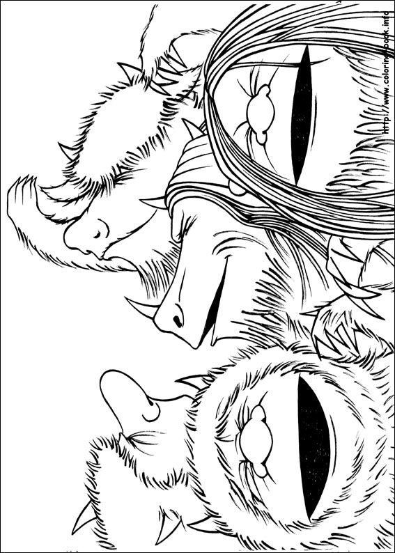 'Where the wild things are' beasts coloring page