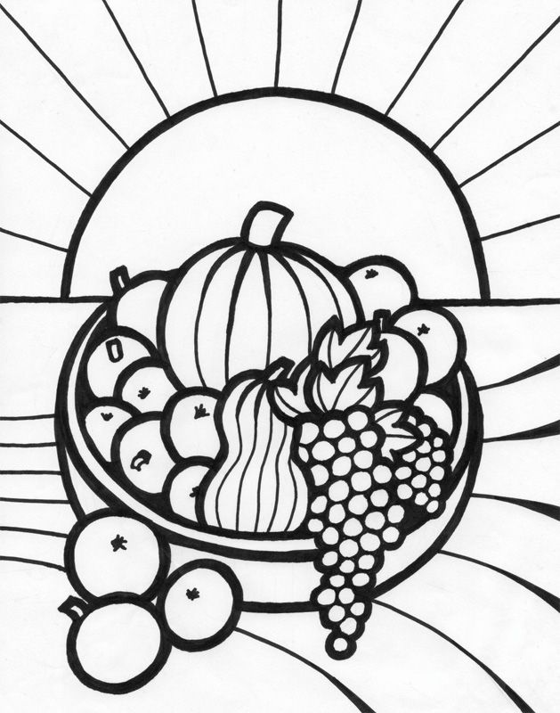 fruit baskets coloring pages - photo#5