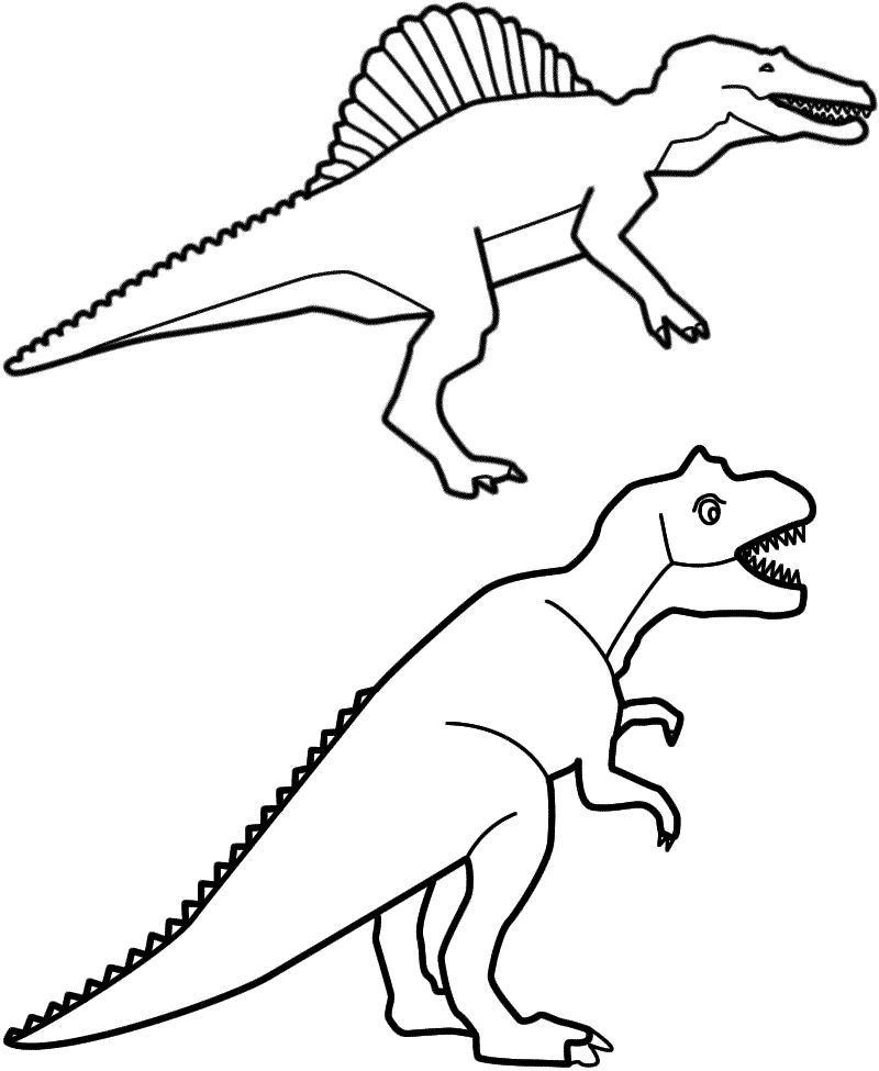 Spinosaurus and T-Rex - Coloring Page (