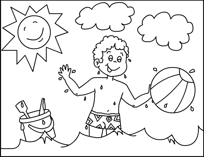 Kids Playing On The Beach Colouring Pages