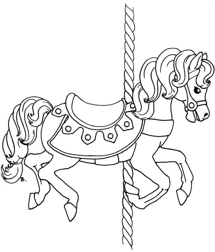Carousel coloring pages coloring home for Carousel horse coloring page