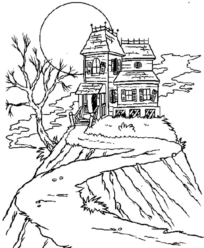 coloring pages haunted house - photo#23