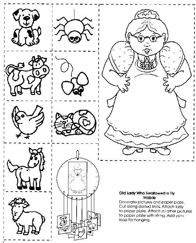 Free Coloring Pages Of Lady Swallowed A Fly