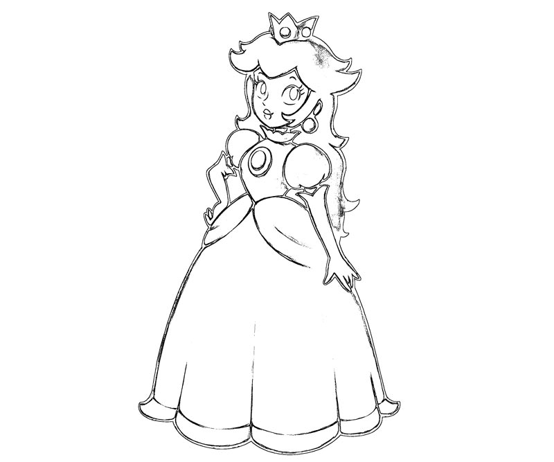 Princess peach coloring pages to print coloring home - Comment dessiner peach ...