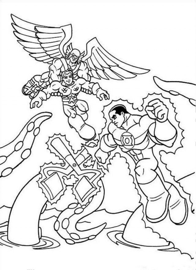 Superfriends Against Monster Coloring Page Coloringplus 50995