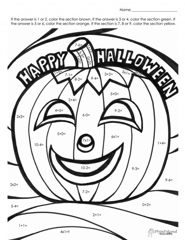 Halloween Coloring Pages Printable Pdf : The printable pdf halloween math fact coloring page happy