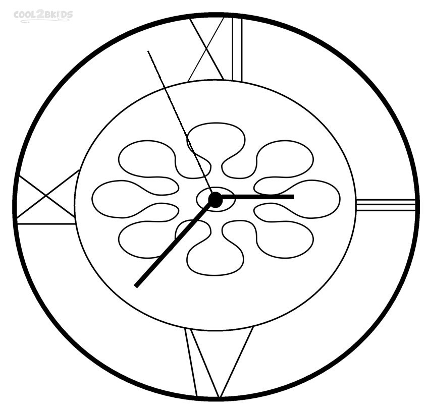 Clock Coloring Page