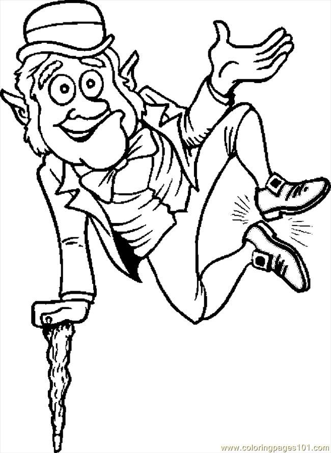 Coloring Pages Leprechaun Jumping (Holidays > St. Patrick's Day