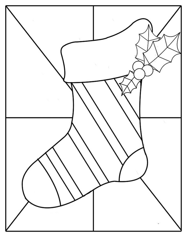 Christmas stocking pattern printable christmas for Christmas stained glass window templates